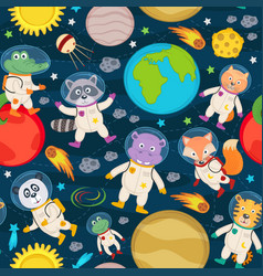 seamless pattern with animals in space vector image