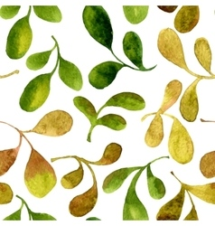 seamless pattern with watercolor green leaves vector image