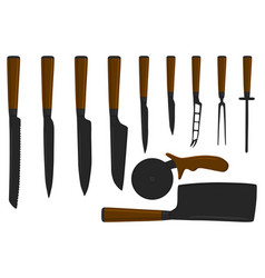 set different types knives different size for vector image