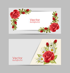 set horizontal banners with beautiful roses vector image