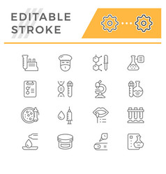 Set line icons medical analysis vector