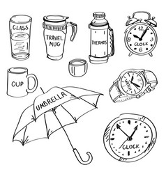 Set of hand drawn different items doodles isolated vector