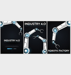 set of industry 40 banners with robotic arm vector image
