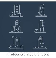 Set of six contour architecture icons vector image