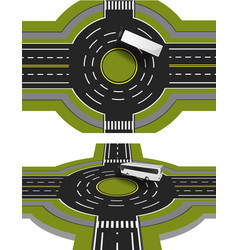 showed a bus at the crossroads with a circular vector image
