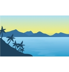Silhouette of beach and hills background vector image