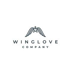 simple wings and love with arrow arrowhead logo vector image