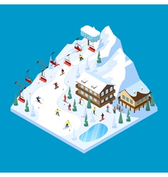 Skiing Mountain Isometric Landscape vector image