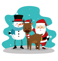 snowman wearing hat and deer with santa claus vector image