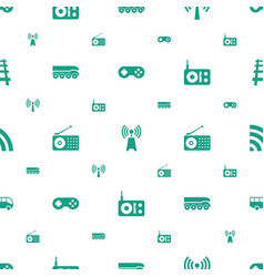Station icons pattern seamless white background vector