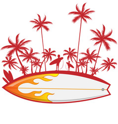 surfboard with palm tree isoalted on white vector image