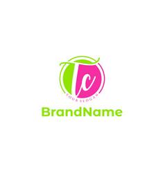 T and c script logo design vector