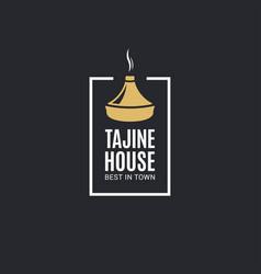 Tajine house or tagine logo on black background vector
