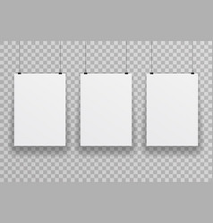 three blank white paper sheet on transparent vector image