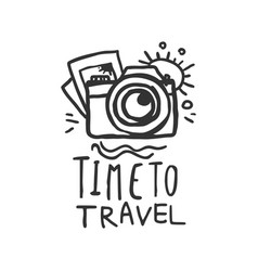 time to travel logo with pictures and camera vector image