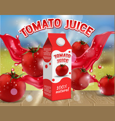 tomato juice ads realistic vector image
