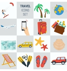 Travel vacation square 15 icons vector