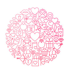 valentine day line icon circle design vector image