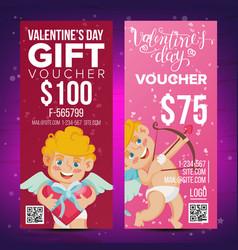 Valentine s day voucher design vertical vector