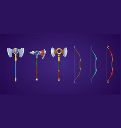 Viking axes and bows for medieval battle game vector