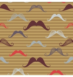 Vintage seamless pattern with mustache Retro vector