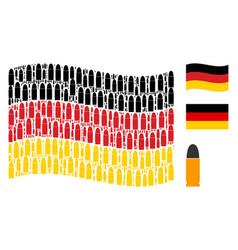 Waving german flag pattern of ammo bullet icons vector