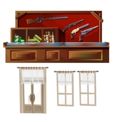 Weapons shop door and windows vector