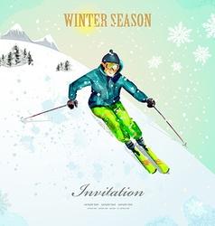 Winter sport girl skiing at ski resort watercolor vector image