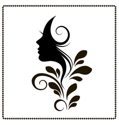 Woman profile style salon silhouette vector