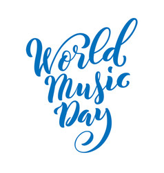 world music day template for poster with hand vector image