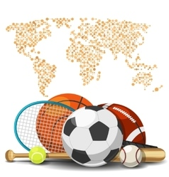 World sport deportes concept Sports equipment vector
