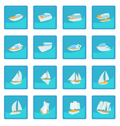 yacht icon blue app vector image