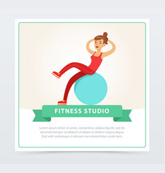 young woman exercising on a fitball fitness vector image