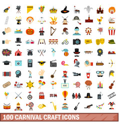 100 carnival craft icons set flat style vector image