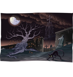 Black cat and cemetery in the night vector image vector image