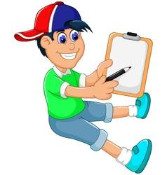 funny little boy cartoon showing his clip board vector image