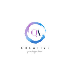 qa letter logo circular purple splash brush vector image vector image