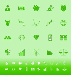 Stock market color icons on green background vector image vector image