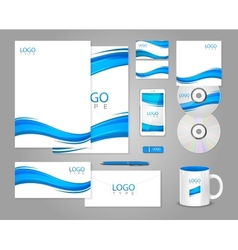 White corporate identity template with blue waves vector image vector image