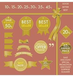 Design Element Gold labels on best seller set vector image vector image