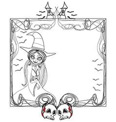 doodle frame Halloween witchbones bats skulls vector image