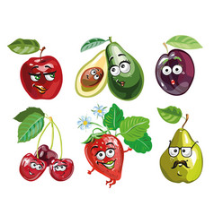 funny fruit cartoon isolated on white background vector image
