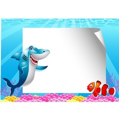 Fish cartoon with blank sign vector image vector image