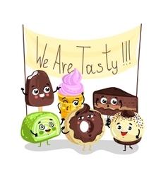 Funny sweet tasty dessert character set vector image vector image
