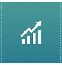 Growing bars graphic icon with rising arrow vector image vector image