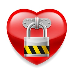 Red heart with lock vector image
