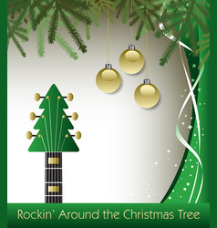 rockin around the christmas tree guitar background vector image