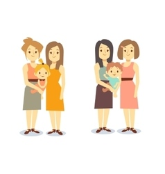 Set of happy gay LGBT women families with children vector image vector image