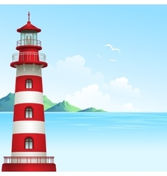 Blue sea background with waves and lighthouse vector image vector image