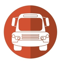 Bus public transport city front view brown circle vector